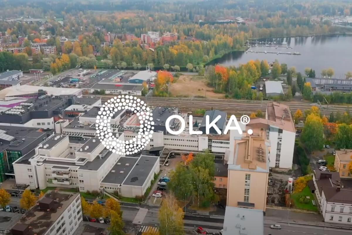 Ilmakuva Mikkelistä. Kuvan päällä on valkoinen OLKAn logo.