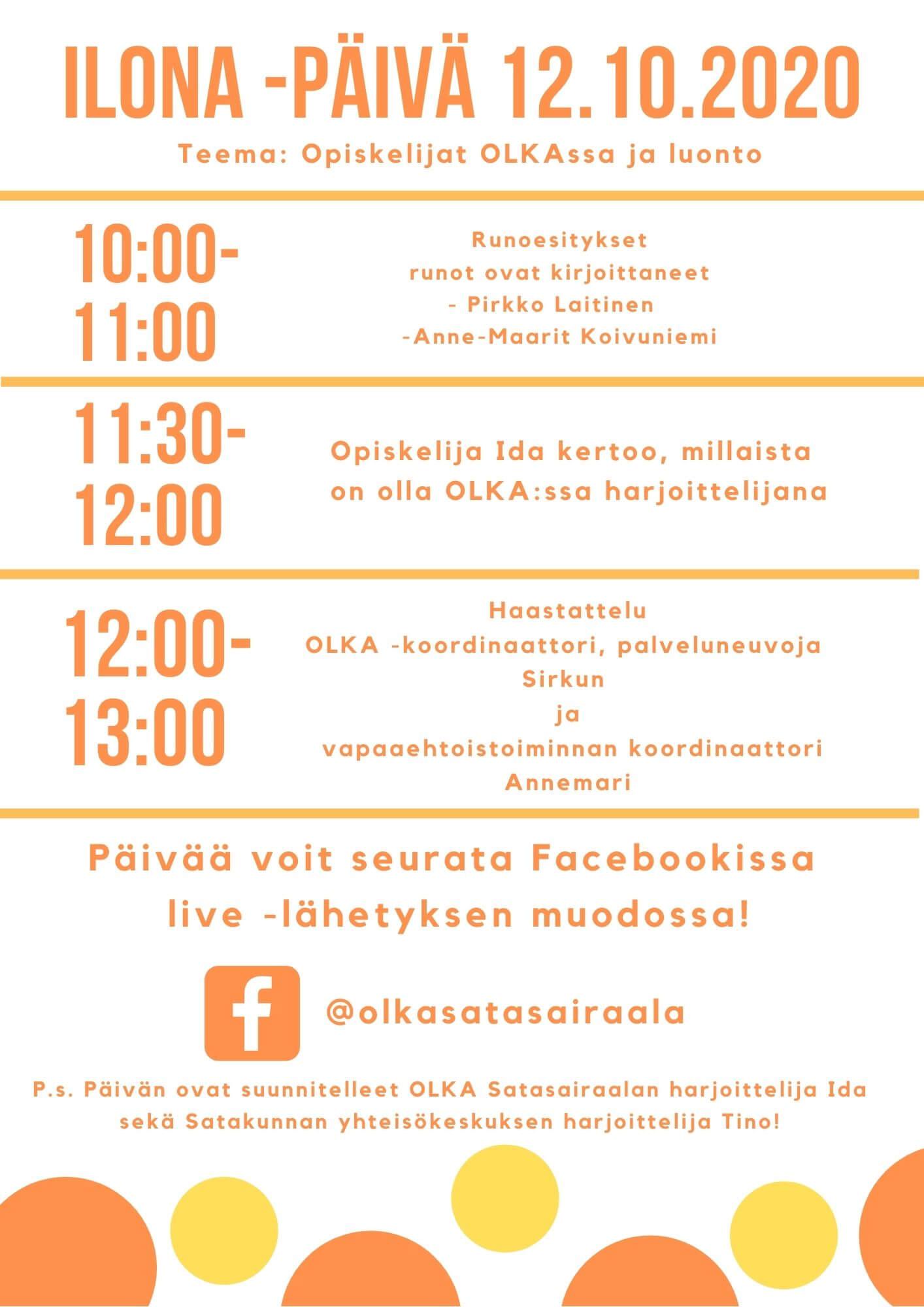 Facebook-liven aikataulu