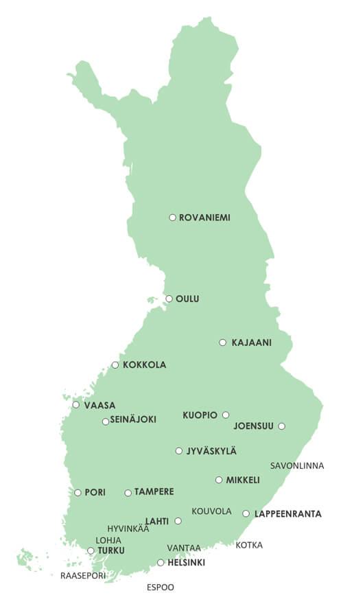 OLKAn toimipaikat merkittynä Suomen karttaan.