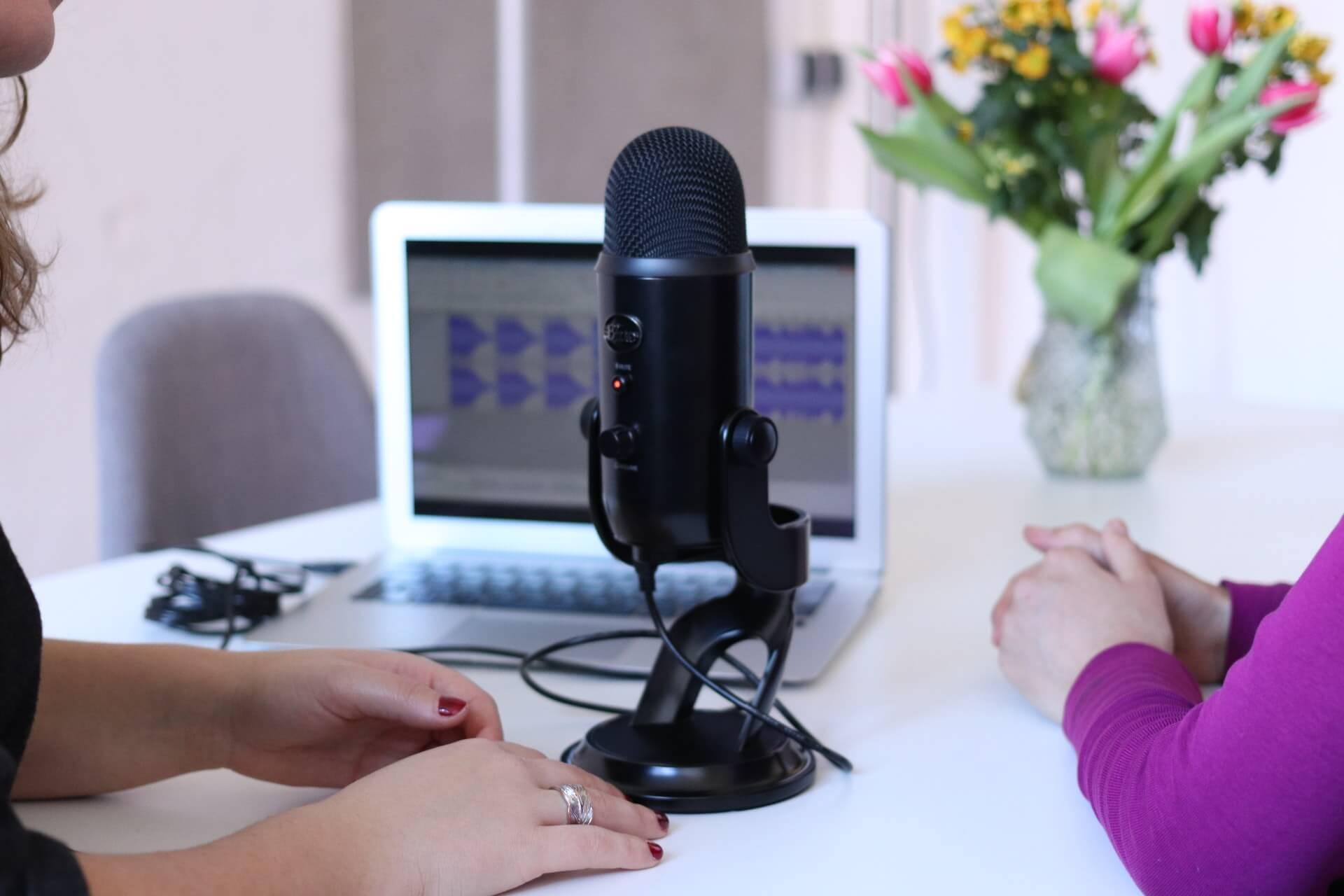 Pöydän ääressä on kaksi ihmistä selin kameraan. Heistä näkyy vain kädet. Pöydällä on myös mikrofoni ja tietokoneella näkyy äänitysohjelma. Pöydällä on myös värikkäitä kukkia.