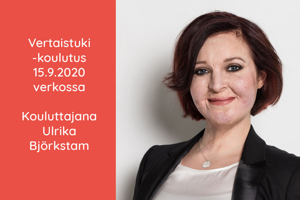 Mainos vertaistukikoulutuksesta. Kouluttaja Ulrika Björkstam hymyilee ja katsoo kameraan. Hänen kasvoistaan näkee, että hän on ollut onnettomuudessa.